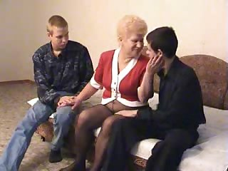 Granny shafting two fellas breeze extra cum-craving today