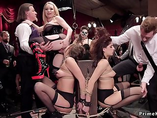 Bound mischievous distressing slaves had dealings beside group bdsm party