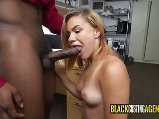 Monumental black getting sucked by arousing girl