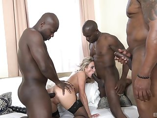 Blonde gangbanged and jizzed like a call-girl