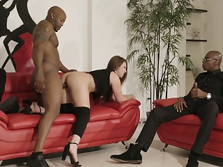 Two huge black dicks penetrate anus and pussy be required of bootyful white unspecified Maddy O'reilly