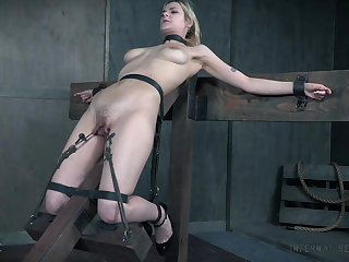 BDSM sex play leads the busty menial girl to insane orgasms