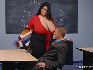 BBW teacher leaves younger hunk to destroy the brush wringing wet vagina