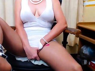 Busty 50 grow older Granny Fingering on webcam