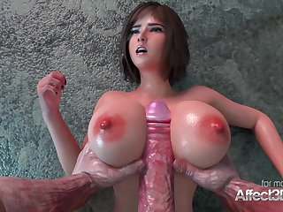 Fat chest babe nailed by an ancient monster in a 3d anim