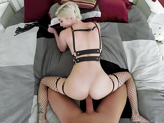 Slim porn chisel fucked in tyrannical POV and jizzed atop her ass