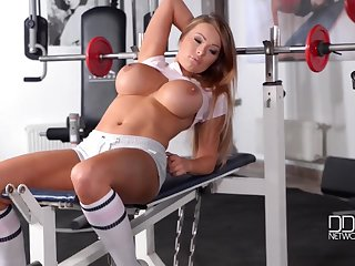 Charley Atwell hot busty babe workouts