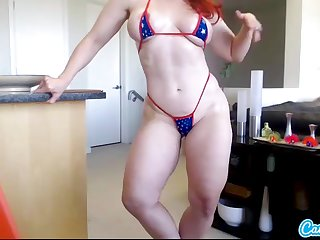 Andrea Rosu muscled pornstar redhead babe shakes her booty and oils up her big breast in webcam solitary