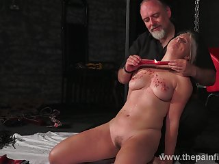 Kinky dude ties up and punishes seductive obese blondie Masie Dee