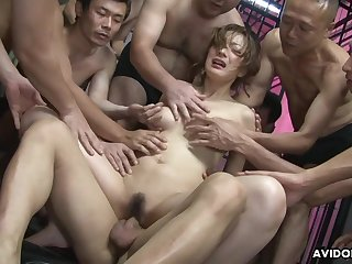tender asian MILF Aiko Nagai crazy gangbang