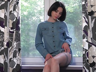 Lovely teen give lace panties Naja is playing with herself and masturbating pussy