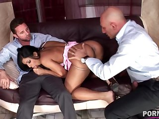 Euro nympho Kyra Black has her hot holes DPed