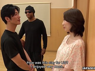Asian milf Aya Kisaki gets intimate with one young toff and gets her pussy creampied