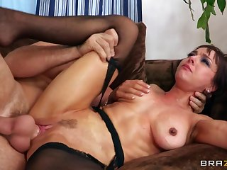 Cougar Cytherea teases him relative to stockings together with rides while bleat