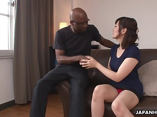 Nerdy bald black stud enjoys cute Japanese comprehensive Tomoka Sakurai flashing her cunt
