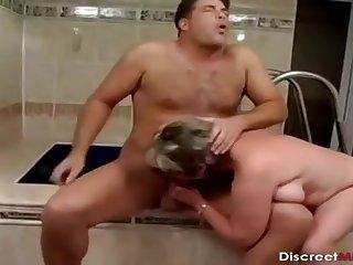Older Lady Bathroom Drilling Session - mommy