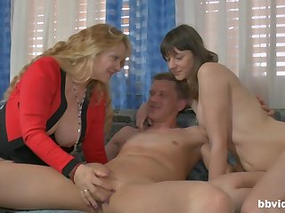 Amateur FFM threesome with a mature wife and a younger lover