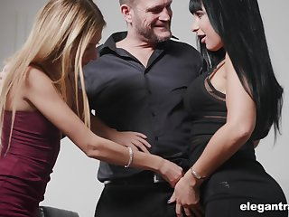 Valentina Ricci and say no to nasty girlfriend are fucked by one kinky and hoggish man