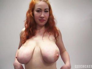 Big tits, Casting, Czech, Pov, Red, Tits,