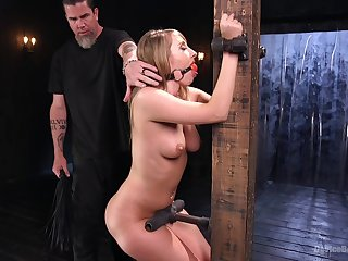 Big ass blonde Harley Drill-hole gets her pussy penetrated during torture
