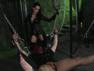 Kinky babe Kaia Kane tied up her male slave for wild fucking