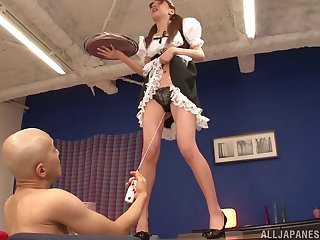 Riho Hasegawa drops on the top of her knees to give head and gets fucked