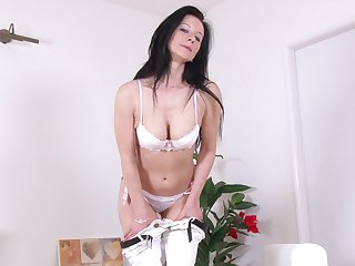 Skinny blackness model Enza in white underthings having unique fun