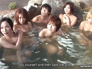 Asian teacher Is involved in the swimming pool orgy