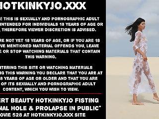 Desert beauty Hotkinkyjo fisting her anal hole & prolapse